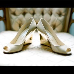 Jimmy Choo Baxen Nude Patent Leather Gold Wedge